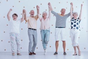 energetic healthy happy elderly people